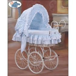 Culla vimini neonato Vintage Retro - Blu-Bianco