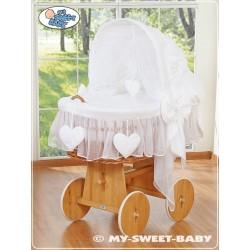 Culla vimini neonato Cuori - Bianco