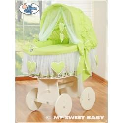 Culla vimini neonato Cuori - Verde-Bianco