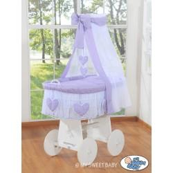 Culla vimini neonato Cuore - Viola-Bianco