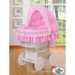 Culla neonato vimini Orsacchiotto - Rosa-bianco