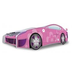 Letto macchina bambina Fiori Rosa con materasso 180x80 cm