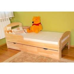 Lettino singolo bambino in legno di pino massello Tim2 con cassetto 160x80 cm