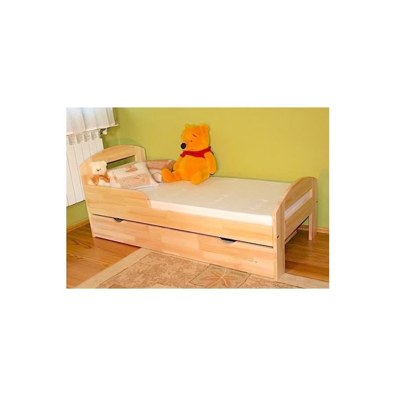 Letto singolo in legno di pino massello Tim2 con cassetto 180x80 cm...
