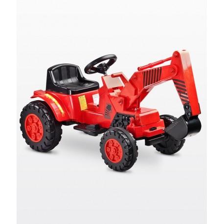 Auto elettrica Digger Scavatrice rosso