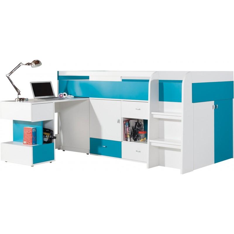 Letto a soppalco con scrivania mobby 200x90 cm letti a - Letto soppalco con scrivania ...