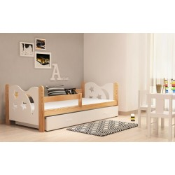 Lettino in legno di pino massello Luna con cassetto 160x70 cm