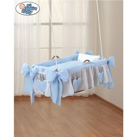 Culla vimini sospeso neonato Cuori Blu