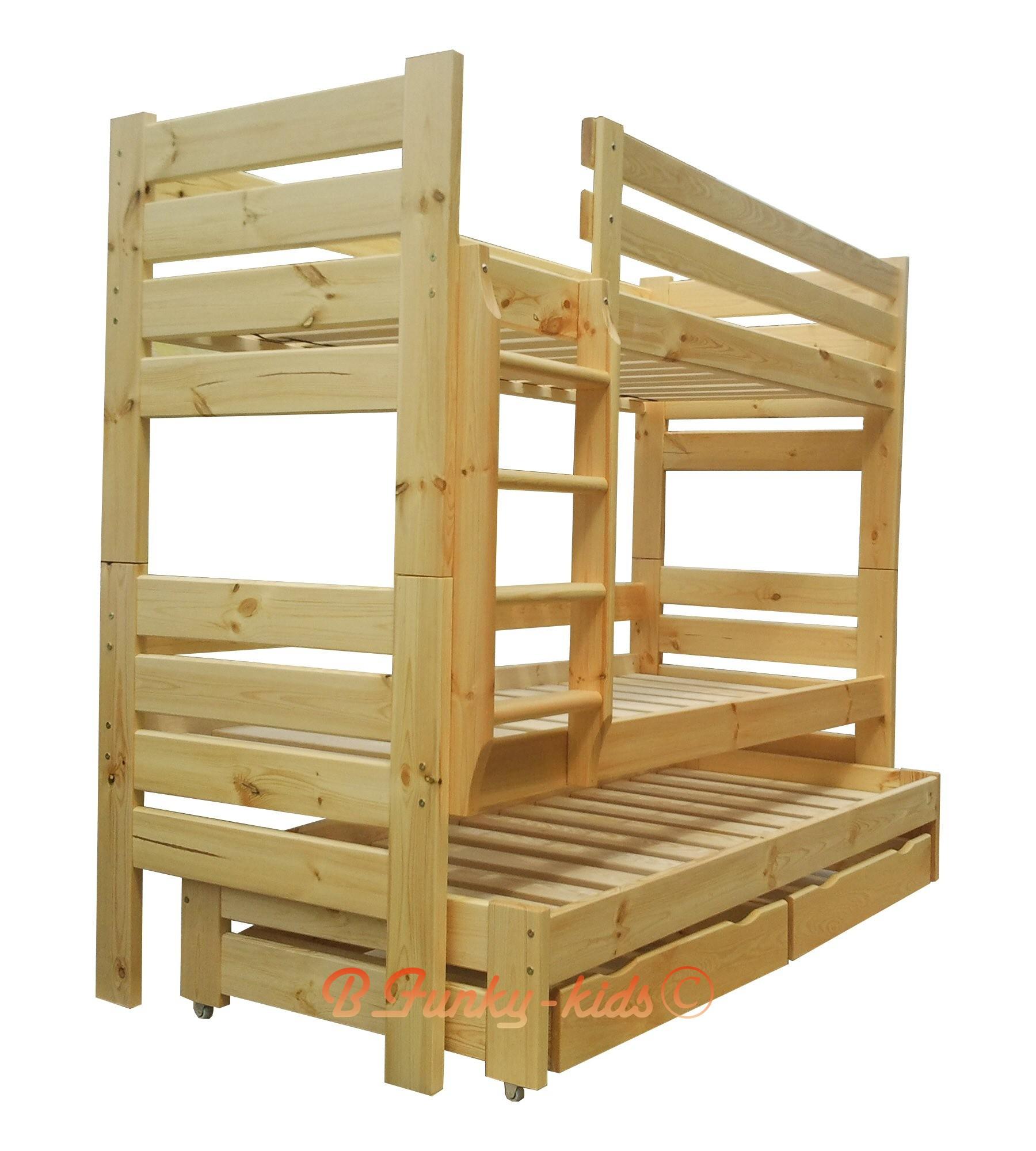 Letto a castello con estraibile in legno massello Gustavo 3 con mat...