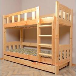 Letto a castello in legno massello Inez con materassi e cassetto 180x80 cm