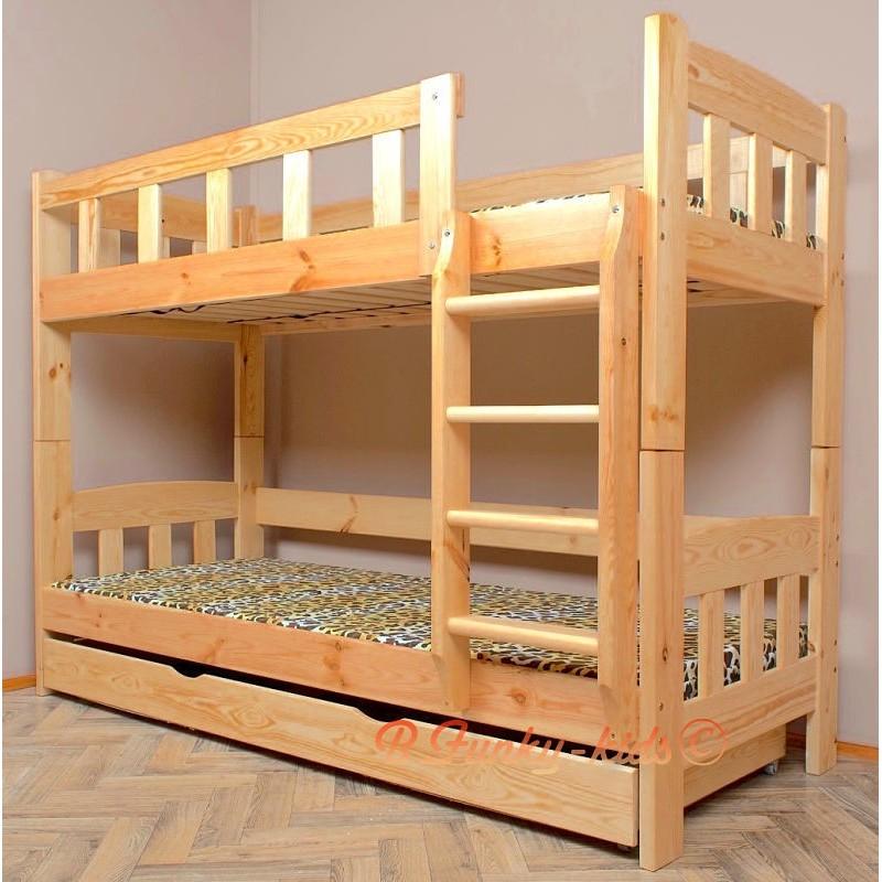 Letto a castello in legno massello Inez con materassi e cassetto 18...
