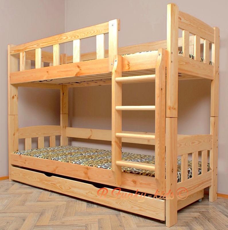 Letto a castello in legno massello Inez con materassi e cassetto 16...