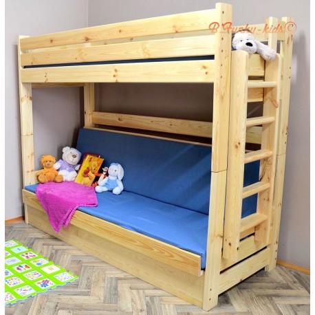 Letto a castello in legno massello Carlos con materassi e cassetto 180x80 cm