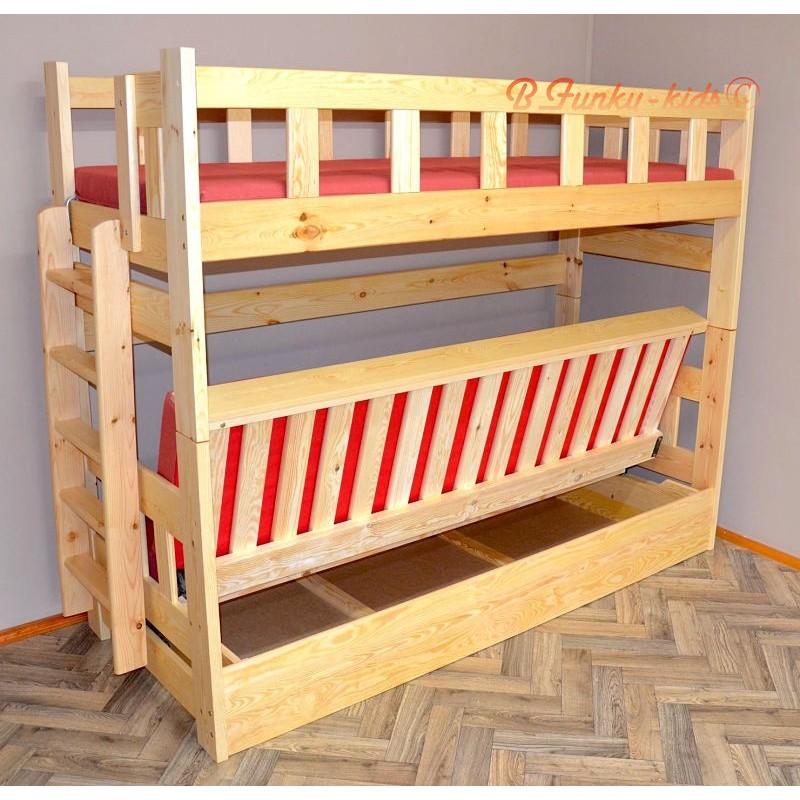 Letto a castello in legno massello fabio con materassi - Letto a castello in legno massello ...