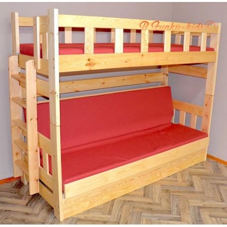 Letto a castello in legno massello Fabio con materassi 180x80 e 180x110 cm
