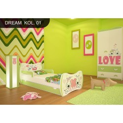 Lettino singolo Sogni Verde Collezione con cassetto e materasso