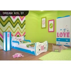 Lettino singolo Sogni Azzurri Collezione con cassetto e materasso
