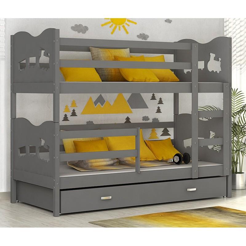 Letto a castello in legno massello 180x80 cm trenino farfalle cuori - Come costruire un letto a castello in legno ...
