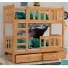 Letto a castello in legno massello Bambi 170x60 cm