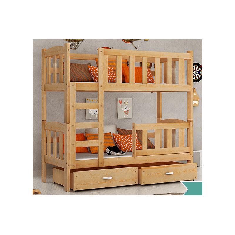 Letto a castello in legno massello bambi con materassi e cassetti 1 - Letto bimbo con sponde ...