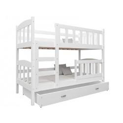 Letto a castello in legno massello Bambi con materassi e cassetti 160x70 cm