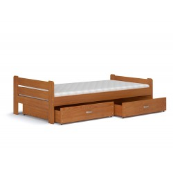 Letto singolo in legno di pino massello Bruno con cassetto e materasso 200x90 cm