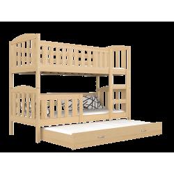 Letto a castello con estraibile in legno massello Jacob 3 160x80 cm