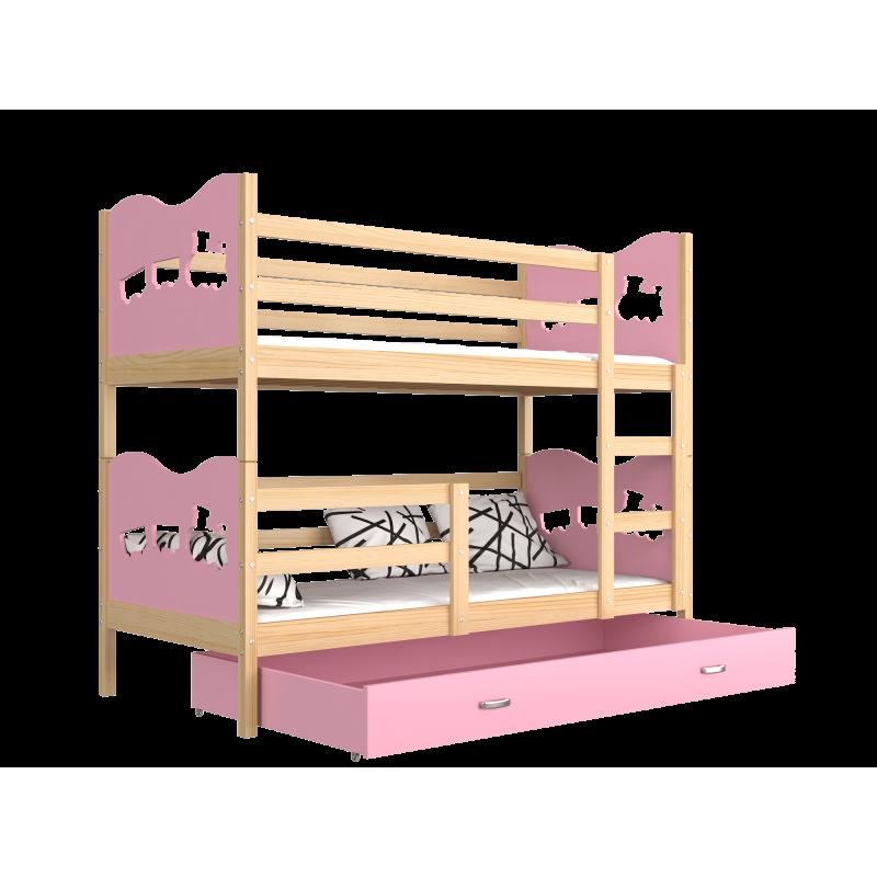 Letto a castello in legno massello 190x80 cm trenino farfalle cuori - Come costruire un letto a castello in legno ...