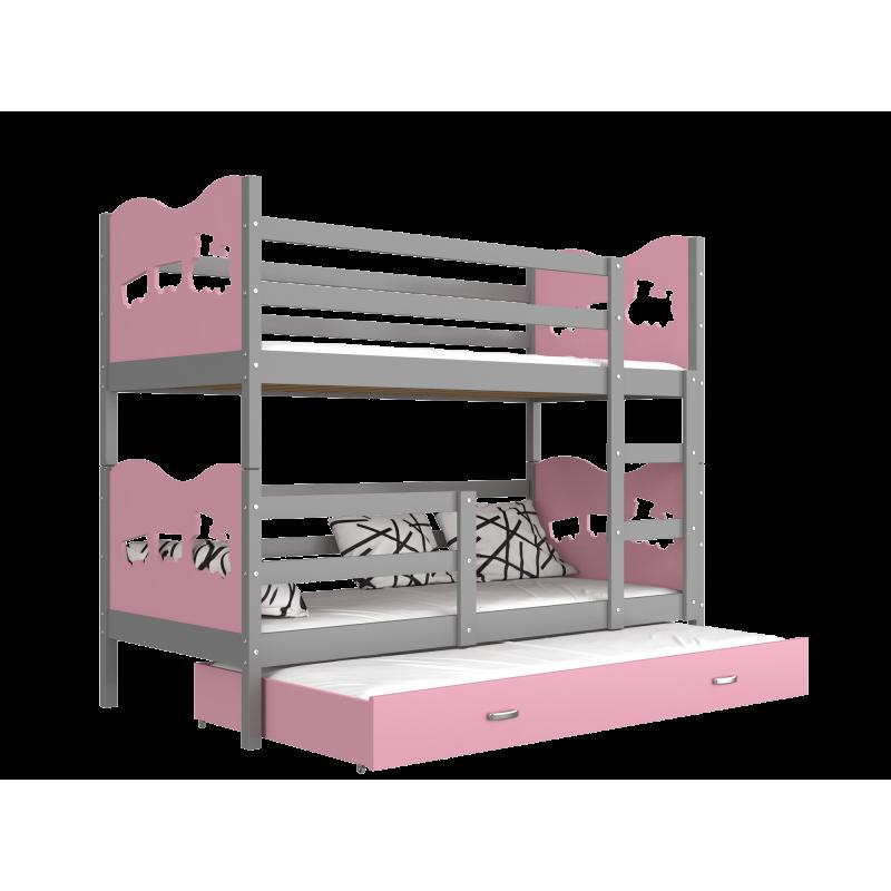 Letto a castello con estraibile 190x80 cm trenino farfalle cuori le - Letto a castello con terzo letto estraibile ...