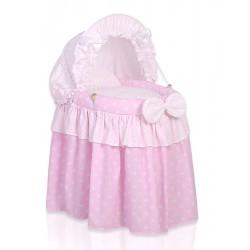 Culla vimini per bambole rosa