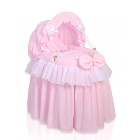 Culla vimini per bambole Little Princess rosa
