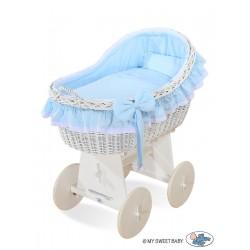 Culla neonato vimini Carine - Blu-bianco