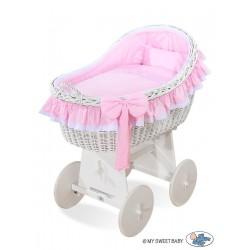 Culla neonato vimini Carine - Rosa-bianco