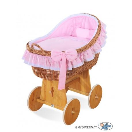 Culla neonato vimini Carine - Rosa