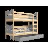 Letto a castello in legno massello 200x90 cm Trenino Farfalle Cuori