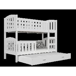 Letto a castello con estraibile in legno massello Jacob 3 200x90 cm