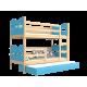 Letto a castello con estraibile in legno massello con materassi e cassetto 200x90 cm