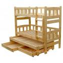 Letto a castello con estraibile in legno massello Nicolas 3 con cassetti 200x90 cm