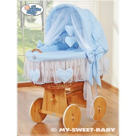Culla vimini neonato Cuori - Blu