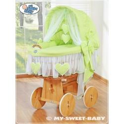 Culla vimini neonato Cuori - Verde