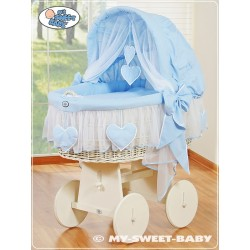 Culla vimini neonato Cuori - Blu-Bianco