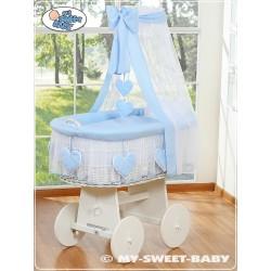 Culla vimini neonato Cuore - Blu-Bianco