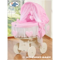 Culla vimini neonato Cuori - Rosa-Bianco