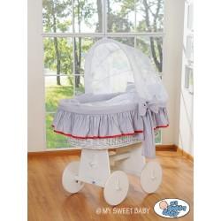 Culla neonato vimini Glamour - Grigio-Bianco