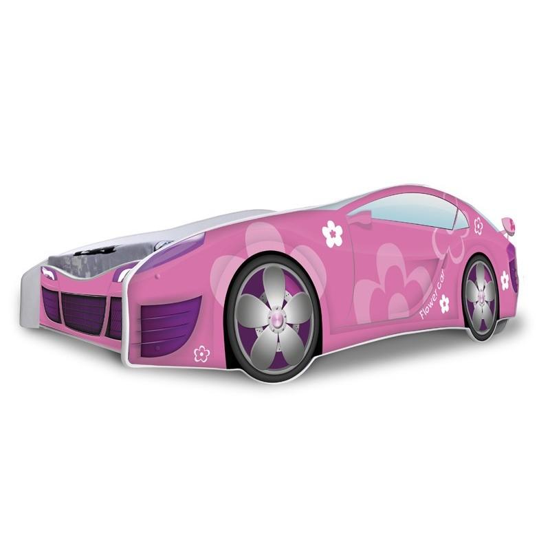 Letto macchina bambina fiori rosa con materasso 180x80 cm letti a f - Letto macchina bimbo ...