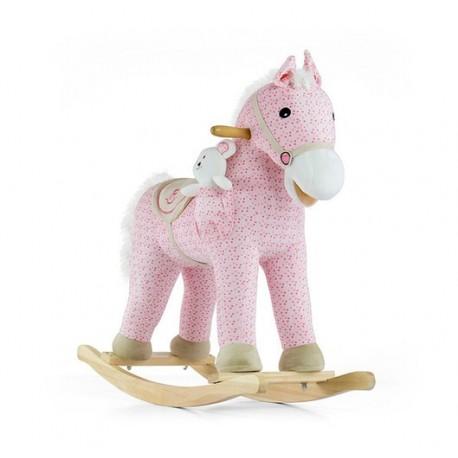Cavallo a dondolo Pony rosa