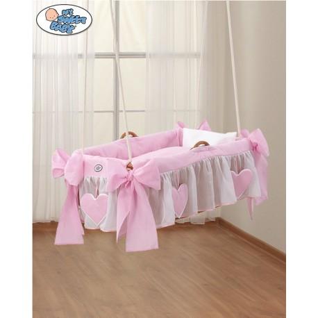 Culla vimini sospeso neonato Cuori Rosa