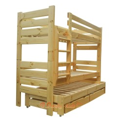 Letto a castello con estraibile in legno massello Gustavo 3 con materassi e cassetti 190x80 cm