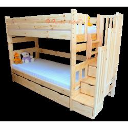 Letto a castello con scala contenitore e letto estraibile Enrique 3 200x90 cm