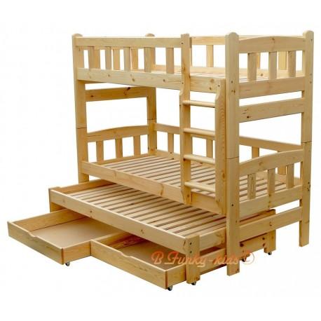 Letto a castello con estraibile in legno massello Nicolas 3 con cassetti 180x80 cm